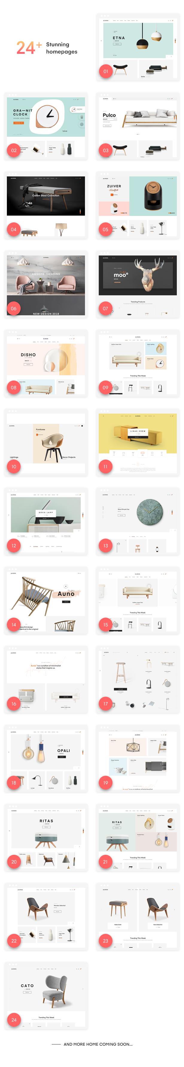 Auros - furniture woocommerce wordpress theme demos
