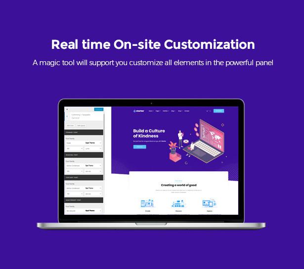Real-time WP Customizer Startor Startup Business WordPress Theme