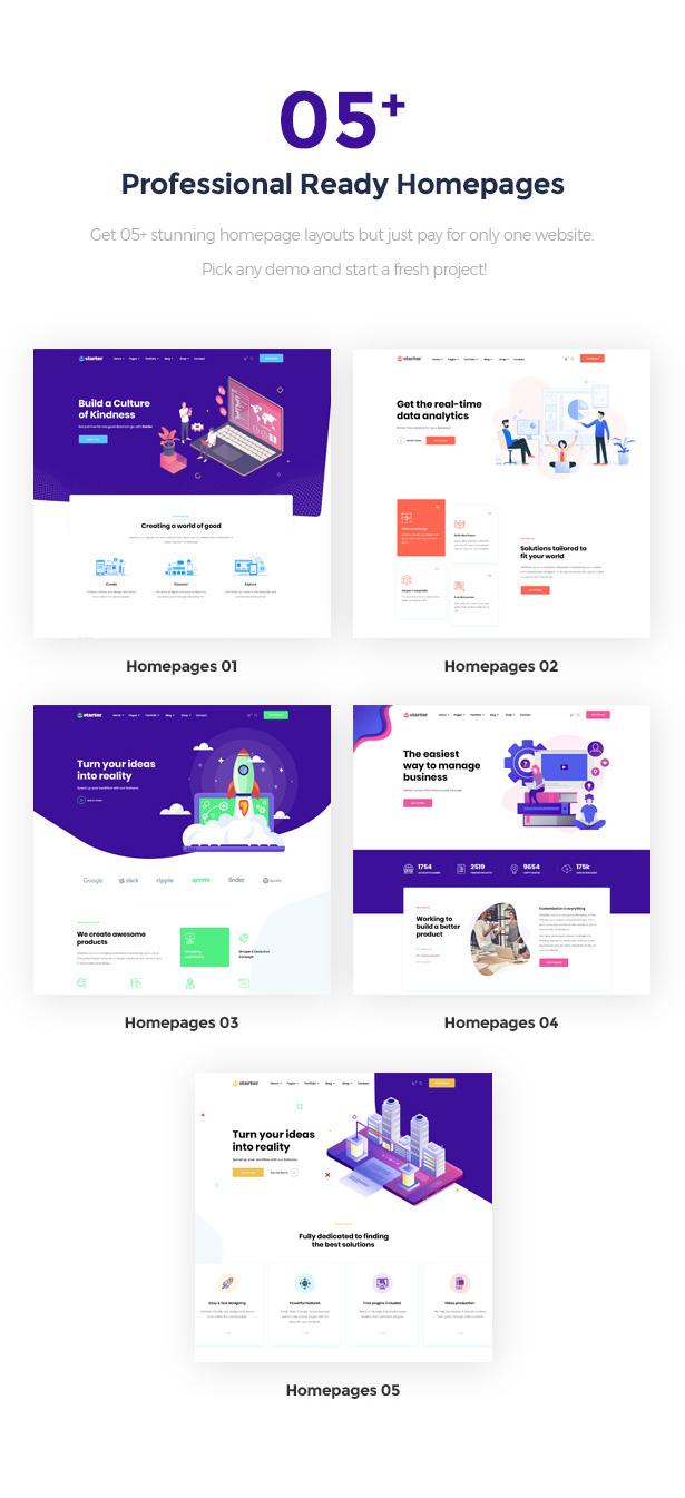 05+ Unique Prebuilt Homepages Startor Business Startup WordPress Theme