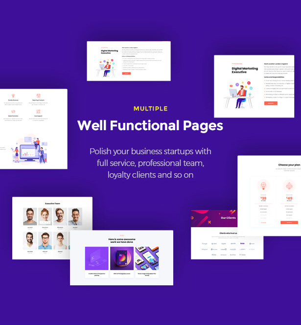 Multiple Functional Pages Startor Startup Business WordPress Theme