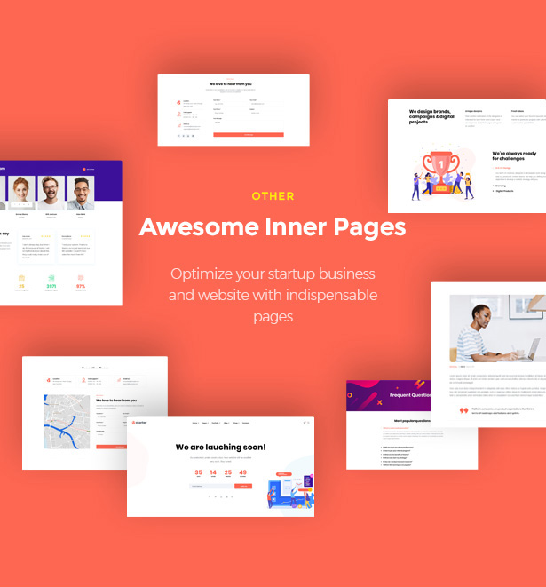 Awesome Inner Pages Startor Startup Business WordPress Theme